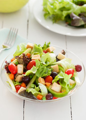 fresh vegetable salad in glass bowl for health