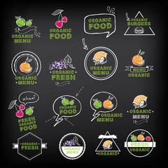 Organic food icons, vegan symbols. Vector illustration.