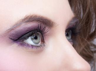 Close-up shot of female eye make-up