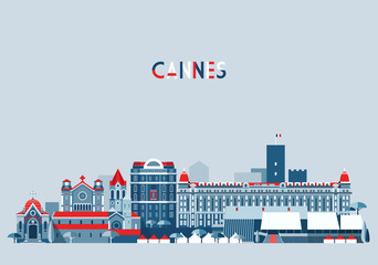 Cannes France city skyline vector background Flat trendy illustration