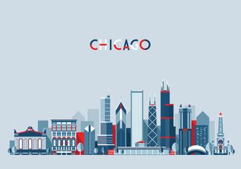 Chicago United States city skyline vector background Flat trendy illustration