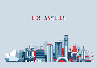 Los Angeles United States city skyline vector background Flat trendy illustration