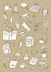 Hand drawn school set
