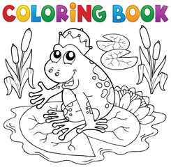 Coloring book fairy tale frog