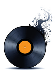 Vinyl record with abstract flowers.