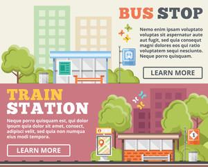 Bus stop, train station flat illustration concepts set