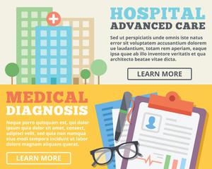 Advanced care hospital and medical diagnosis flat illustration concepts set