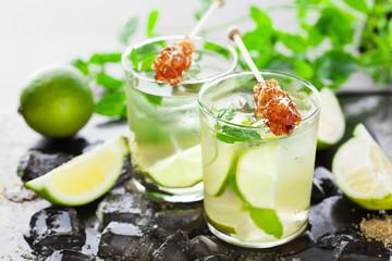 Lemonade with fresh lemon and lime