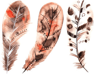 Set of three watercolors beige feathers
