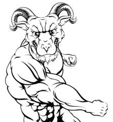 Ram mascot punching