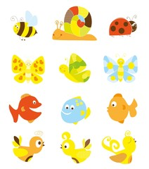 set of cute little cartoon creatures for chilldren