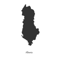 Black map of Albania for your design