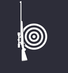 Shooting Gallery emblem with rifle, vector illustration, eps10