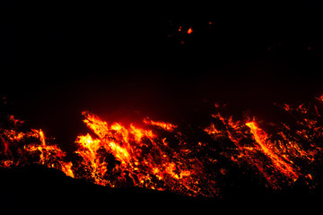 Lava flow of night.Eruption of Etna volcano's May 16, 2015