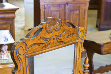 Detail of an antique italian furniture just restored