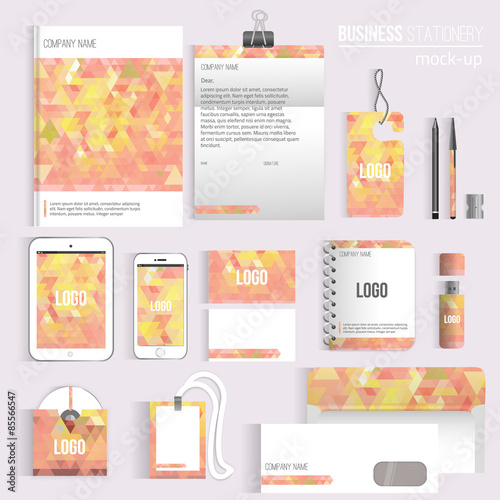 "Blank Stationery And Corporate Identity Template Consist: ""Vector Triangle Blank Corporate Identity Set Of"