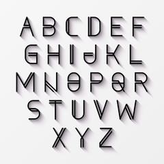 Modern alphabet with shadow