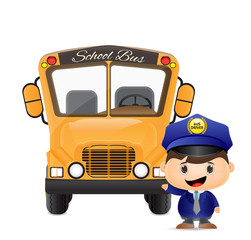 school bus and bus driver illustration
