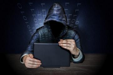 Hacker doing espionage with laptop