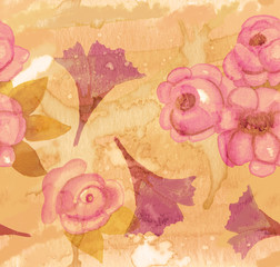Watercolour roses on artistic stained paper seamless pattern