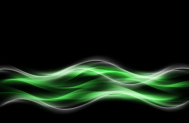 Light Green White Waves Fractal Background