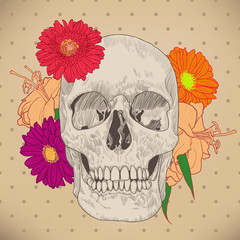 Vintage Greeting Card with Skull and Flowers on Beige Background