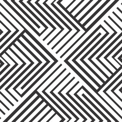 Seamless pattern design in black and white strips zigzag