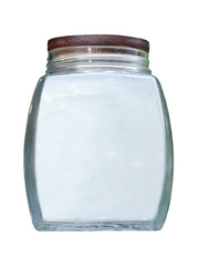 Empty glass jar with wooden lid.Isolated.