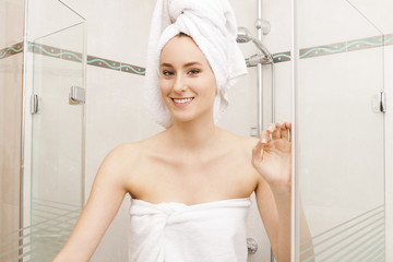 Smiling Fresh Woman Inside the Shower Cubicle