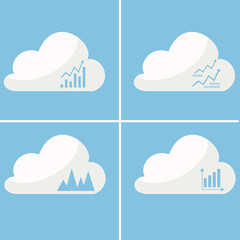 set of stylish icons growth charts in the cloud