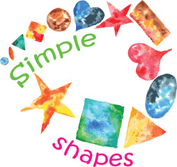 a set of hand-drawn watercolor of simple shapes - square, star,