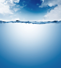 water surface isolated on white background with bubbles