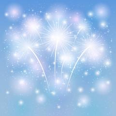 Fireworks shine on blue background