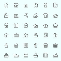 Houses icons, simple and thin line design