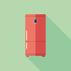 Red refrigerator flat square icon with long shadows.