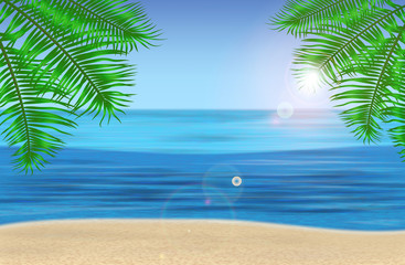 The sea, palm trees and tropical beach under blue sky. Vector