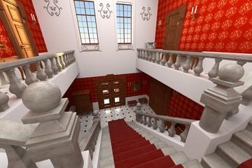 3d render of luxury manor interior - lobby
