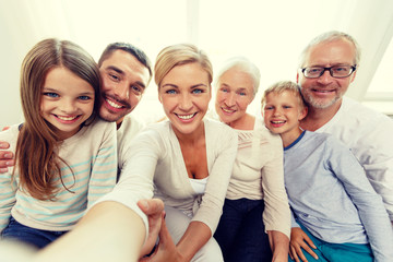 happy family making selfie at home
