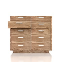 Fototapeta wood cupboard with opened empty drawer obraz