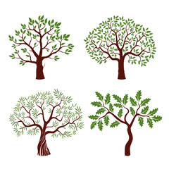 Set of color vector trees.
