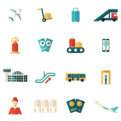 Airport Icons Flat