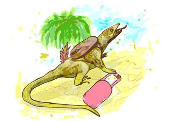 lizard traveling