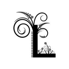 Black alphabet letter L with creeping plant