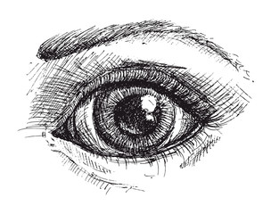 Black and white drawing of eye