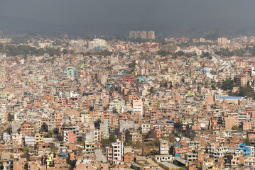 View of Kathmandu city from Swayambhunath temple in Kathmandu valley, Nepal.