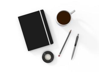 Notizbuch geschlossen weiß Vorlage Bleistift Kaffee
