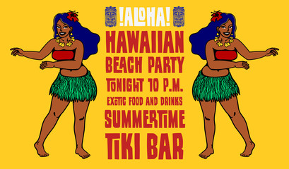 Hawaiian beach party tiki bar flyer design with dancing hula girls