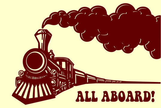 All aboard! Vintage steam train locomotive with smoke puff isolated vector illustration, puffer railway traveling
