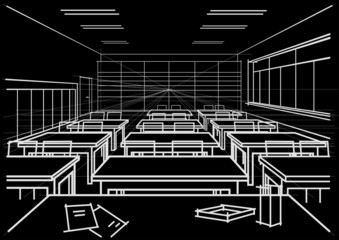 linear architectural sketch interior classroom on black background