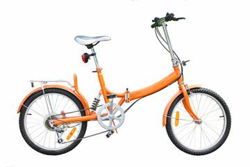 orange folding bicycles on white background
